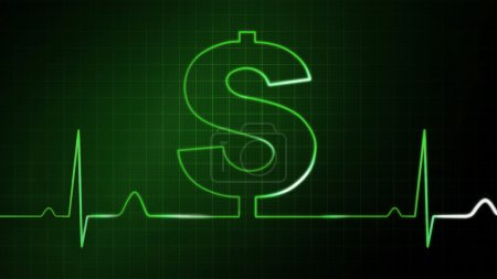 The green dollar sign graphic of EKG monitor