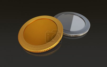 gold and silver coins black