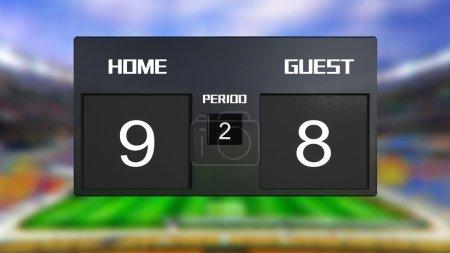 soccer match scoreboard home win 9 & 8