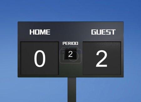 soccer scoreboard score 0 & 2