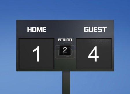 soccer scoreboard score 1 & 4