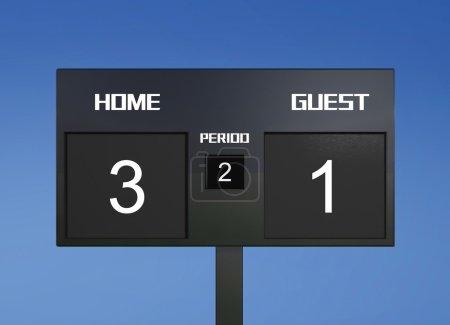 Soccer scoreboard score 3 & 1