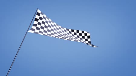 Checkered flag low angle with blue sky
