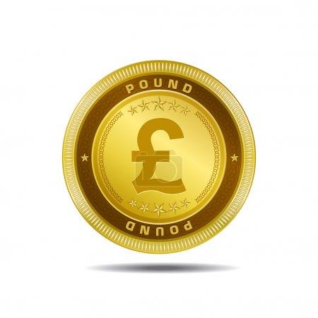 Illustration pour Livre sterling Monnaie signe Golden Coin vecteur - image libre de droit