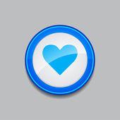 Heart Circular Blue Vector Web Button Icon