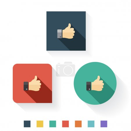 Thumbs Up Flat Icon Design...