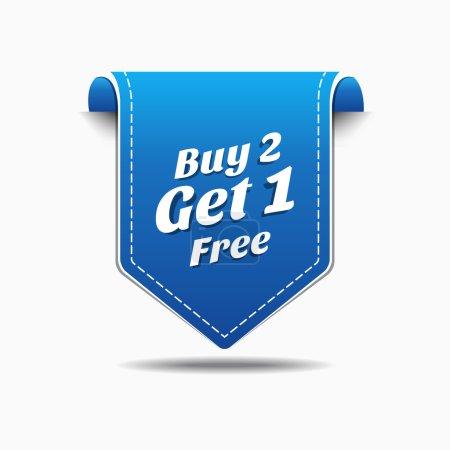 Illustration pour Acheter 2 obtenir 1 étiquette bleue icône vector design - image libre de droit