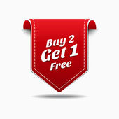 Buy 2 Get 1 Red Label Icon Vector Design