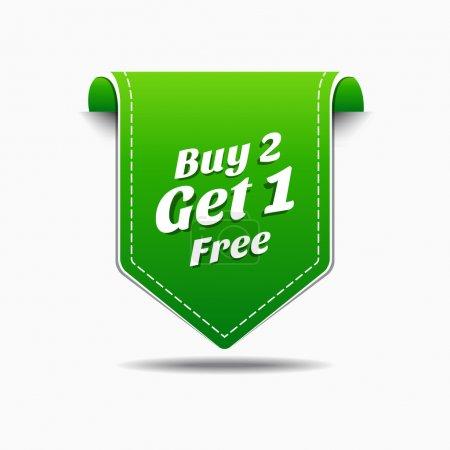 Illustration pour Acheter 2 obtenir 1 étiquette verte icône vector design - image libre de droit