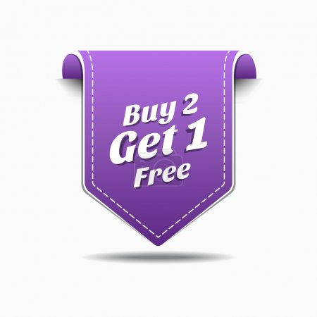 Illustration pour Acheter 2 obtenir 1 étiquette pourpre icône vector design - image libre de droit