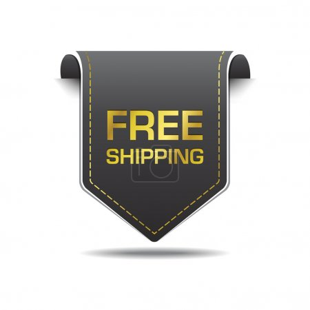 Ilustración de Diseño del vector icono etiqueta negra oro envío gratis - Imagen libre de derechos