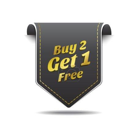 Illustration pour Acheter 2 obtenir 1 étiquette noire or icône vector design - image libre de droit