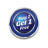 Buy 2 Get 1 Free Glossy Shiny Circular Vector Button