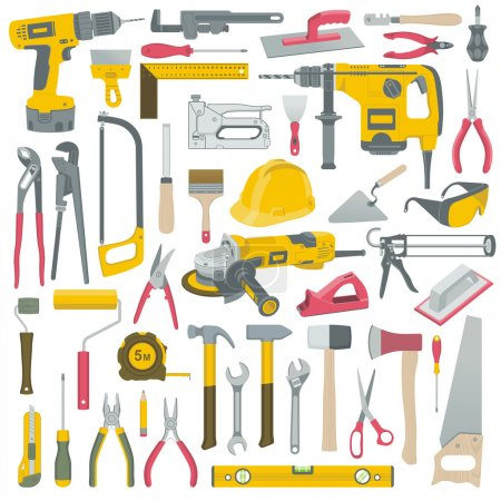 Illustration for Set of construction tools vector - Royalty Free Image
