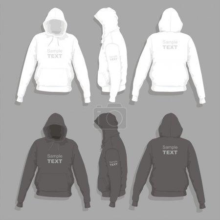 Illustration pour T-shirt homme à capuche devant, derrière et sur le côté - image libre de droit
