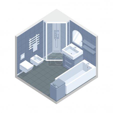 Illustration pour Interrior d'un vecteur de salle de bain - image libre de droit