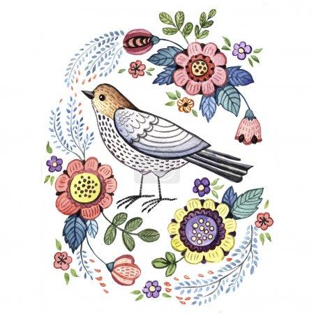 romantic singing bird with flowers