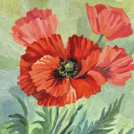 Hand Painting acrylic Poppies