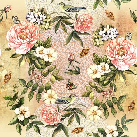 Photo for Vintage pattern with delicate watercolor flower motifs - Royalty Free Image