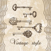 Vector illustration of vintage keys
