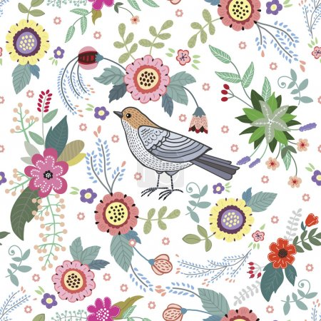 Illustration for Beautiful vintage pattern with a bird and flowers - Royalty Free Image
