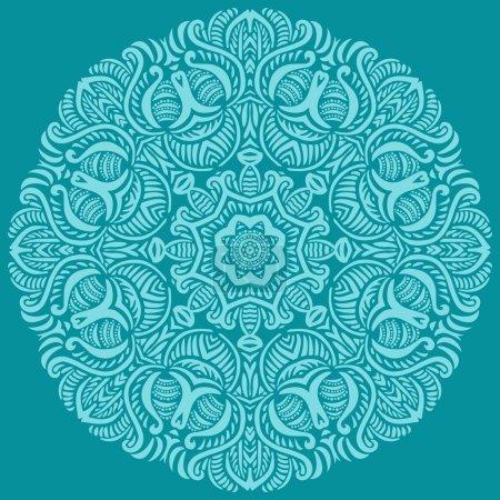 Turquoise circular ornament.