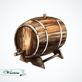 Watercolor old wine barrel