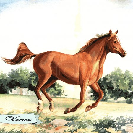 Vector watercolor running horse