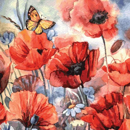 Illustration for Vector watercolor poppies. Illustration for greeting cards, invitations, and other printing and web projects. - Royalty Free Image