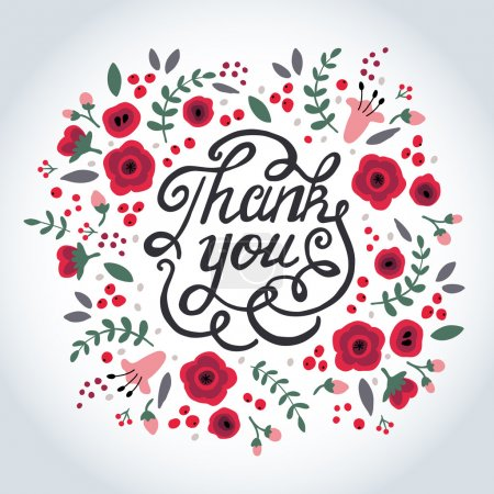 Illustration for Thank you card design. Vector illustration. Illustration for greeting cards, invitations, and other printing and web projects. - Royalty Free Image
