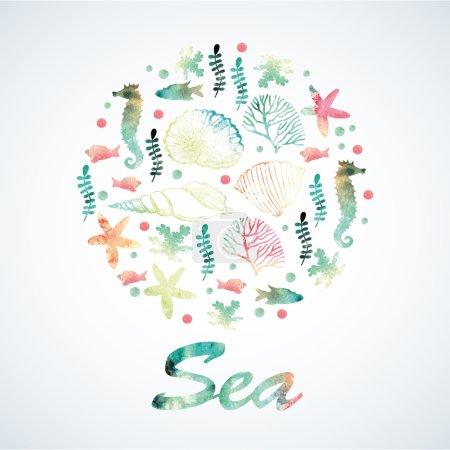 Watercolor marine motifs.