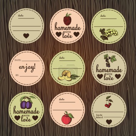 Retro set of labels for jam.