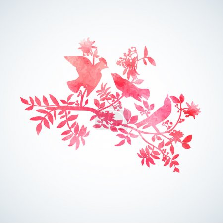Illustration for Watercolor red bird on white - Royalty Free Image
