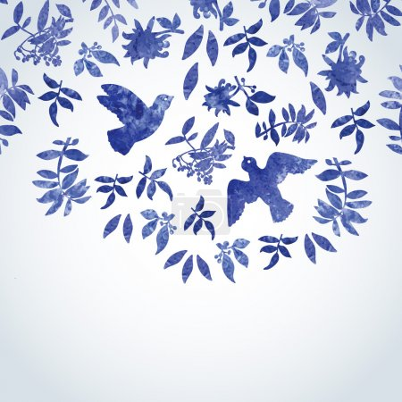 Watercolor pattern with birds and flowers