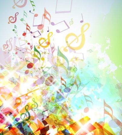 Photo pour Illustration avec les éléments brisés colorés et notes de musique. - image libre de droit