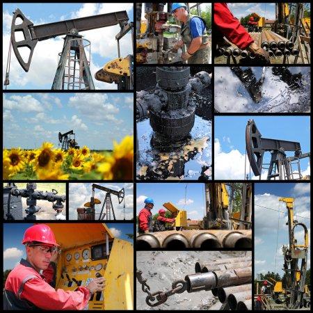 Photo pour Collage industriel montrant des travailleurs au travail sur l'exploration pétrolière et gazière et la production - image libre de droit
