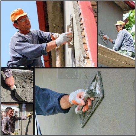 Photo pour Collage de photographies montrant des constructeurs à la façade, travaux de plâtrage - image libre de droit