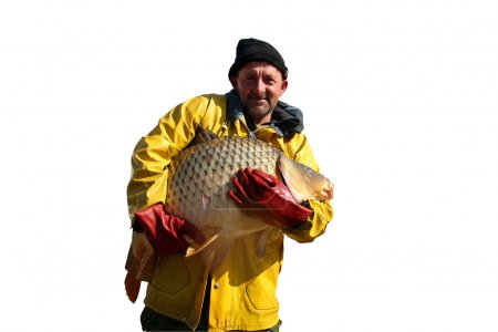 Fisherman Holding a Big Fish Isolated On White