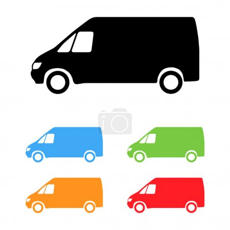 Illustration for Set of color vector van silhouettes - Royalty Free Image