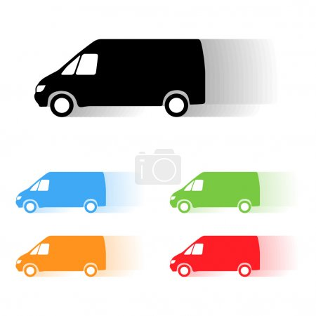 Illustration for Set of color vector moving van silhouettes - Royalty Free Image