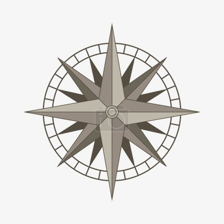 Illustration for Clean brown retro vector wind or compass rose - Royalty Free Image