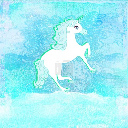 Illustration of beautiful blue Unicorn.