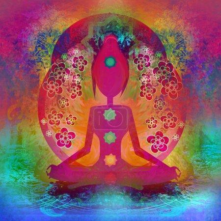 Photo pour Pose d'yoga de lotus. Padmasana avec points de chakra couleur. - image libre de droit