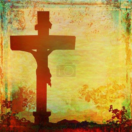 Photo for Jesus Christ crucified , grunge background - Royalty Free Image