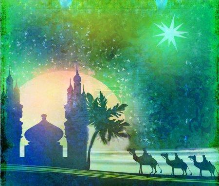 Photo pour Scène classique de trois sages et l'étoile de Bethléem - texture vintage - image libre de droit