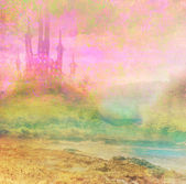 Landscape with old castle - abstract illustration