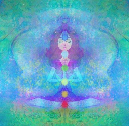 Photo pour Pose de lotus de yoga. Padmasana avec des points de chakra colorés. - image libre de droit
