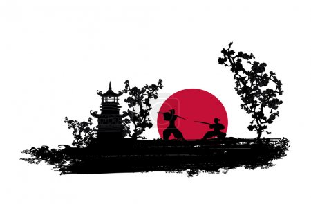 Illustration for Japanese Samurai fighter silhouette - Royalty Free Image