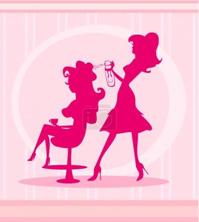 Illustration pour Illustration vectorielle de la belle femme dans le salon de coiffure - image libre de droit