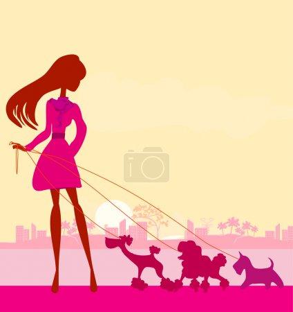 Illustration pour Jolie fille promener les chiens - image libre de droit
